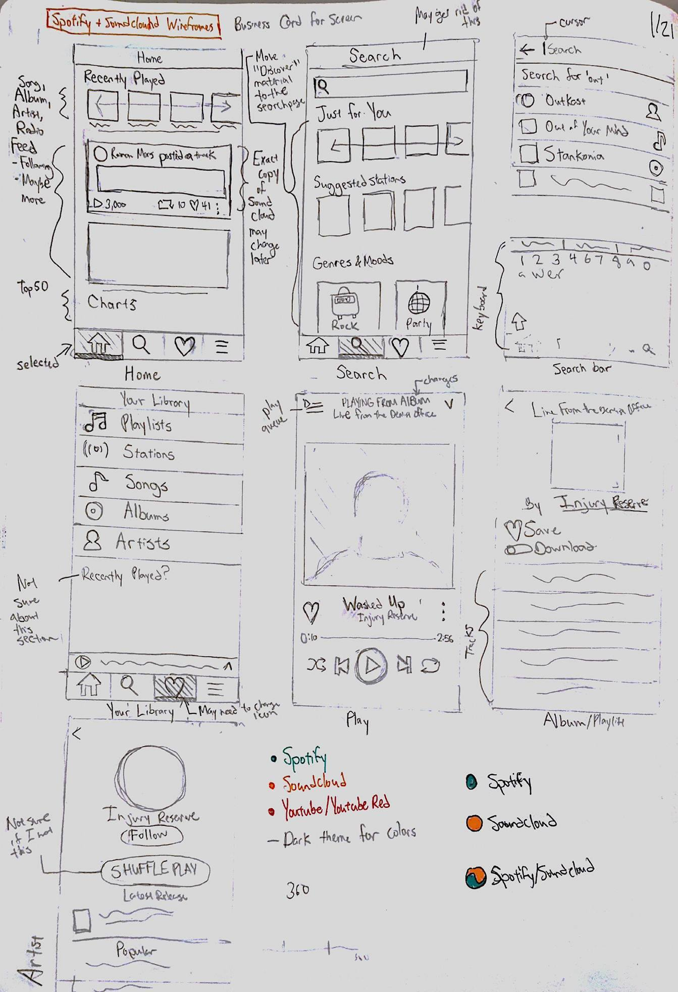Initial Sketches of Muse Music Player